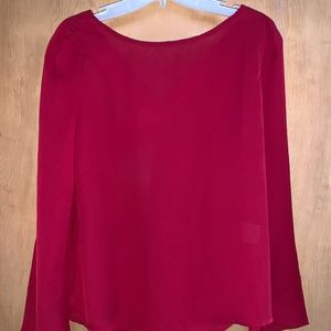 Dark Red Sheer Blouse with Open Back